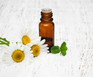 Massage oil and chamomile. On a old wooden background stock image