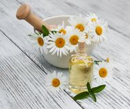 Massage oil and chamomile. On a old wooden background royalty free stock photography