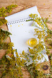massage oil in a glass bottle and notepad on wooden table Stock Photos