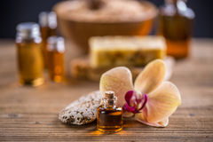 Massage oil. Health spa with massage oil royalty free stock photo