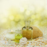 Massage oil and herbal essence Royalty Free Stock Photos
