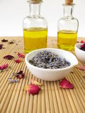 Massage oil with lavender and rose Stock Photography