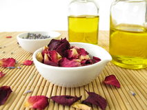 Massage oil with lavender and rose Stock Image