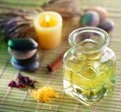 Massage oil in the spa salon. Still life with massage oil in the spa salon royalty free stock photography