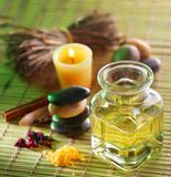 Massage oil in the spa salon Stock Image