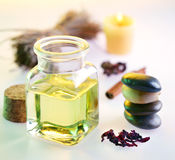 Massage oil in the spa salon Royalty Free Stock Photography