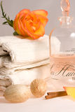 Massage oil and towels Royalty Free Stock Images