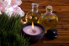 Massage oils, orchid flower, pebbles on bamboo Stock Images
