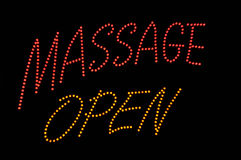 Massage Open Neon Sign Stock Image