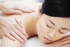 During massage royalty free stock photography