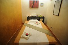 Massage room. With incense and candles royalty free stock image