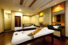 Massage room. Panoramic view of the nice massage room in spa saloon Stock Photography