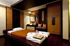 Massage room. Small single room massage Stock Photos