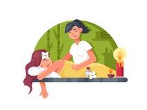 Massage room spa. Masseuse makes cosmetic procedures girl. Vector illustration royalty free illustration
