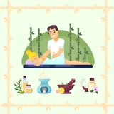 Massage room spa. Masseuse makes cosmetic procedures girl. Vector illustration flat Stock Image