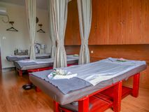 In the massage room in the spa shop. In Guangzhou, China royalty free stock images