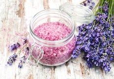 Massage salt with lavender royalty free stock image