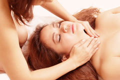 Massage sensual two women Stock Photography