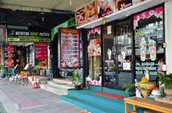 Massage shop located on a parallel street of Beach Road Royalty Free Stock Photos