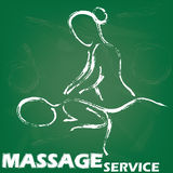Massage sign. Drawing stripes massage painted with white chalk on green board Stock Image