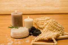 Massage skin care scrub and salt Stock Image