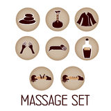 Massage and spa. Collection of icons representing wellness, relaxation, massage and spa Royalty Free Stock Photography