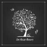 Massage and spa concept, art tree for your design Royalty Free Stock Images