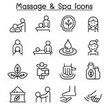 Massage & Spa icon set in thin line style Royalty Free Stock Images