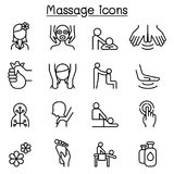 Massage & Spa icon set in thin line style. Vector illustration graphic design Royalty Free Stock Photo