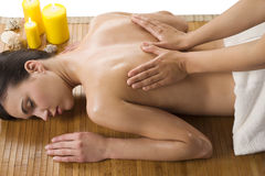 Massage at spa with oil stock image