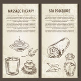Massage, SPA and relax procedure. Set of vector cards template. Hand drawn elements. Stock Photography