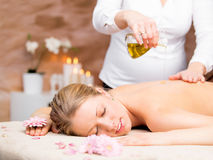 Massage in the spa stock images