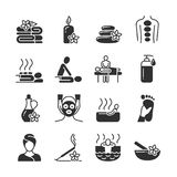 Massage and spa therapy, body care medical vector silhouette icons vector illustration