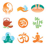 Massage_spa_yoga_icons. Set of massage, yoga, spa icons. Vector illustration Stock Photo