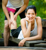 Massage after sport jogging Royalty Free Stock Photos