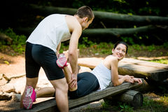 Massage after sport jogging Royalty Free Stock Images