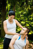Massage after sport training Royalty Free Stock Image