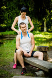 Massage after sport training Royalty Free Stock Images