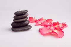 Massage stone with rose petal Royalty Free Stock Photos