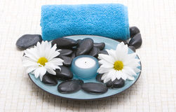 Massage stones and candle royalty free stock image