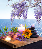 Massage stones with candles, daisy and wisteria. Sea background - backlight Stock Images