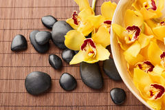 Massage stones with flowers on mat Stock Images