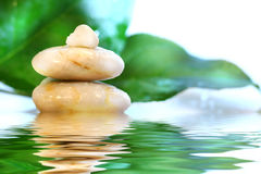 Massage stones with leaves Stock Photos