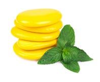 Massage Stones with Mint Stock Photo