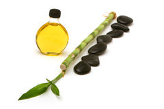 Massage stones and oil Royalty Free Stock Images