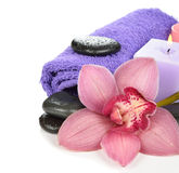 Massage stones and orchid Stock Photo