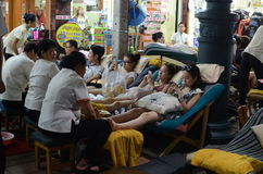 Massage on streets of Bangkok Stock Images