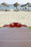 Massage table beside the beach Stock Photography