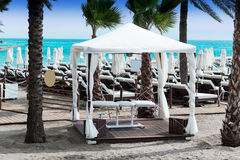 Massage table at beach Royalty Free Stock Photo