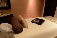 Massage table in a health spa Stock Photography
